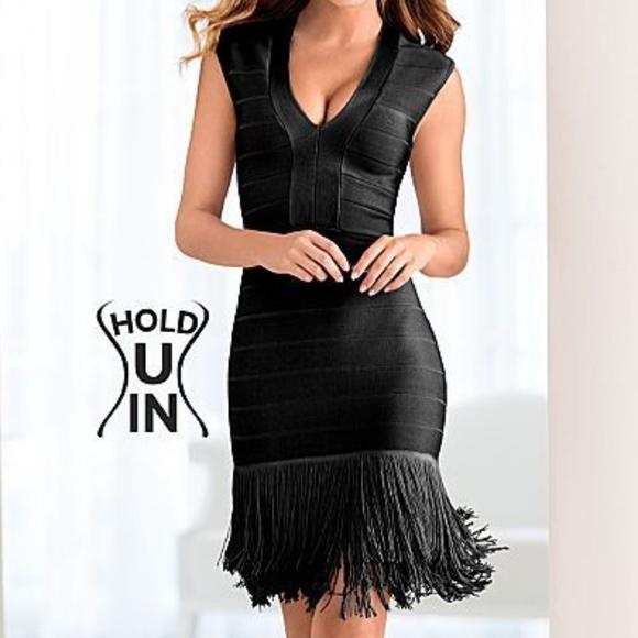 0e8ac8330b4d VENUS Dresses | New Black Slimming Fringe Bodycon Dress 14 | Poshmark